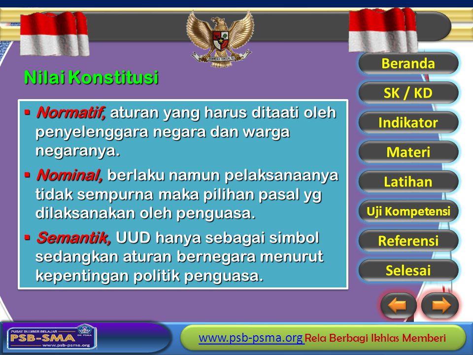 Nilai Konstitusi Normatif, aturan yang harus ditaati oleh penyelenggara negara dan warga negaranya.