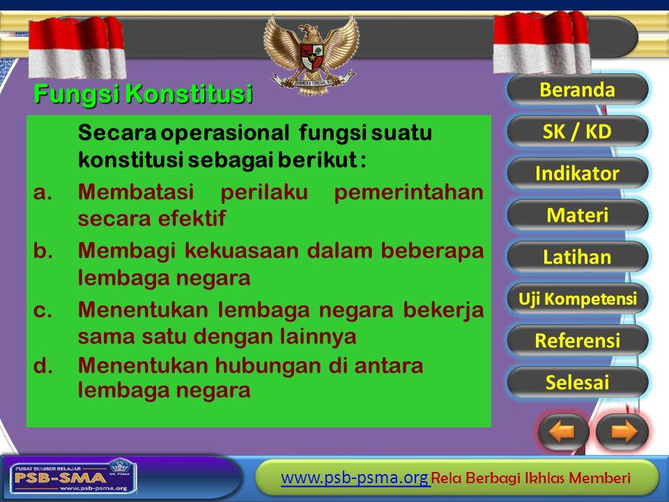 Fungsi Konstitusi Membatasi perilaku pemerintahan secara efektif