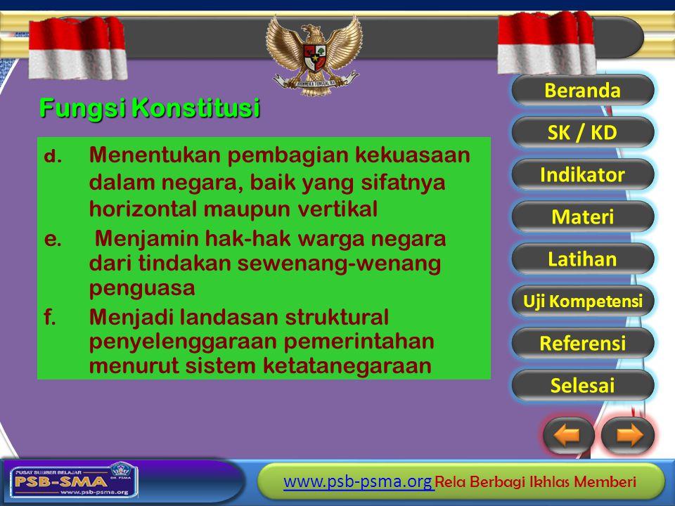 Fungsi Konstitusi d. Menentukan pembagian kekuasaan dalam negara, baik yang sifatnya horizontal maupun vertikal.