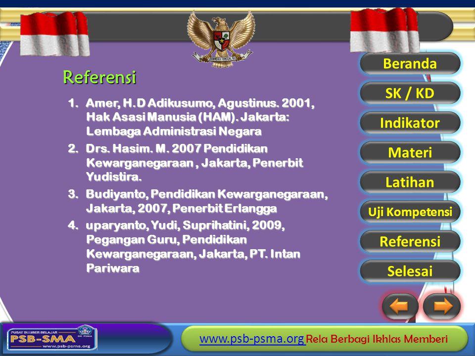Referensi Amer, H.D Adikusumo, Agustinus. 2001, Hak Asasi Manusia (HAM). Jakarta: Lembaga Administrasi Negara.