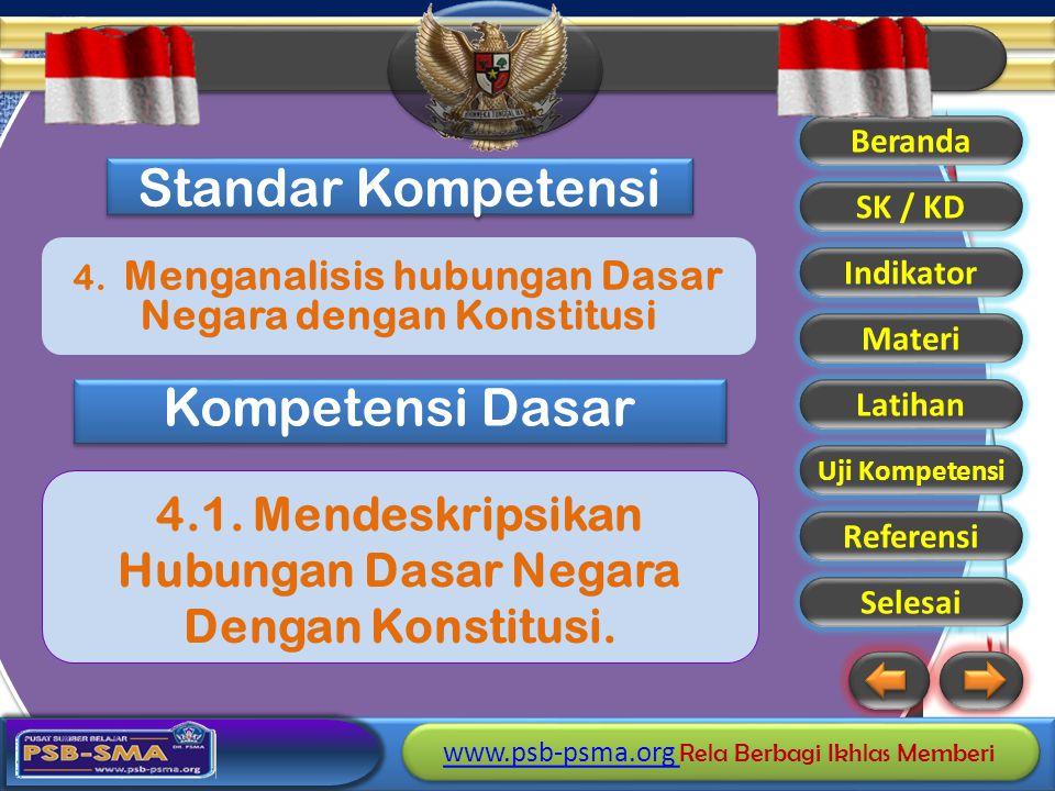4. Menganalisis hubungan Dasar Negara dengan Konstitusi