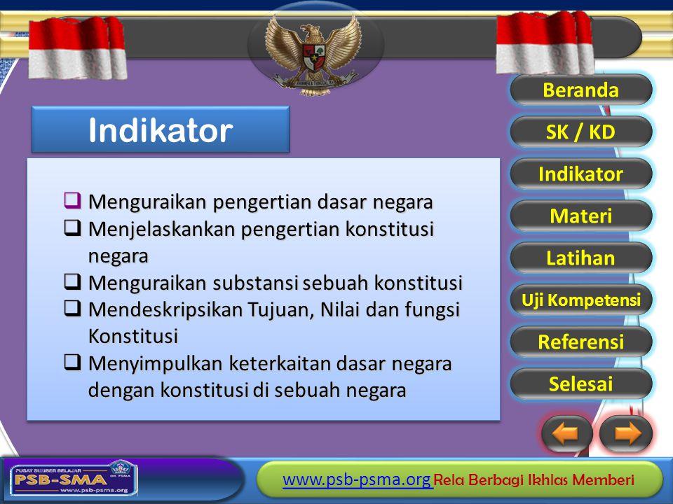 Indikator Menguraikan pengertian dasar negara