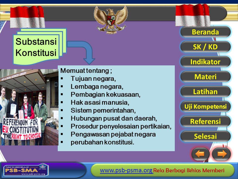 Substansi Konstitusi Memuat tentang ; Tujuan negara, Lembaga negara,