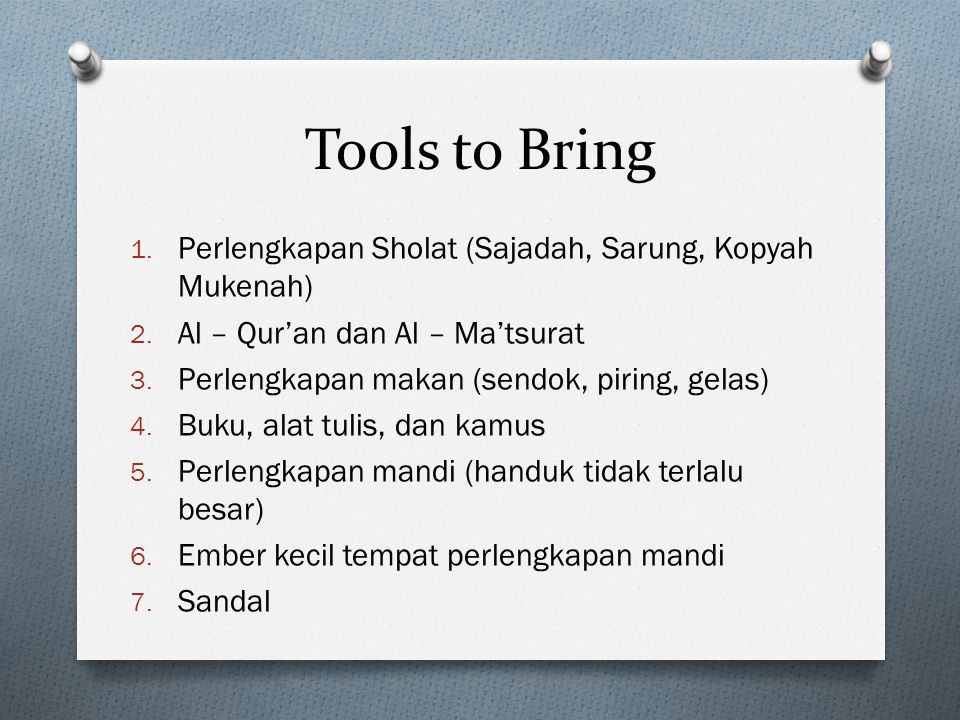 Tools to Bring Perlengkapan Sholat (Sajadah, Sarung, Kopyah Mukenah)