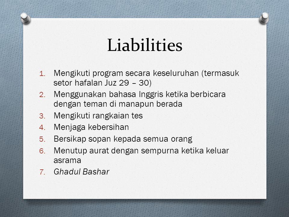 Liabilities Mengikuti program secara keseluruhan (termasuk setor hafalan Juz 29 – 30)