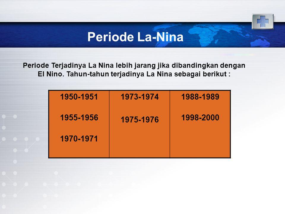 Periode La-Nina Periode Terjadinya La Nina lebih jarang jika dibandingkan dengan El Nino. Tahun-tahun terjadinya La Nina sebagai berikut :