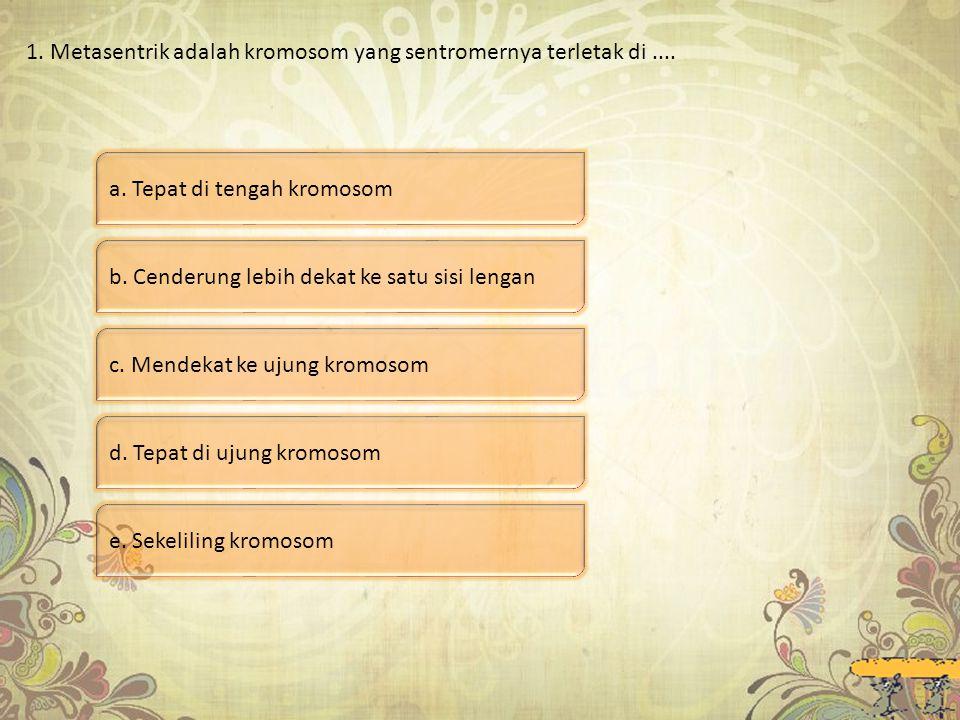 1. Metasentrik adalah kromosom yang sentromernya terletak di ....