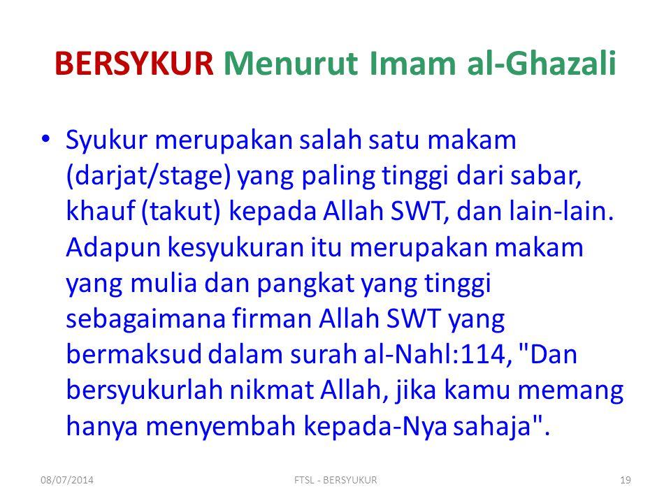 BERSYKUR Menurut Imam al-Ghazali