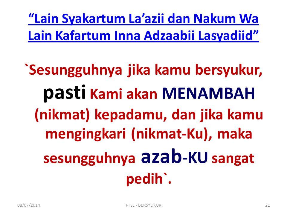 Lain Syakartum La'azii dan Nakum Wa Lain Kafartum Inna Adzaabii Lasyadiid