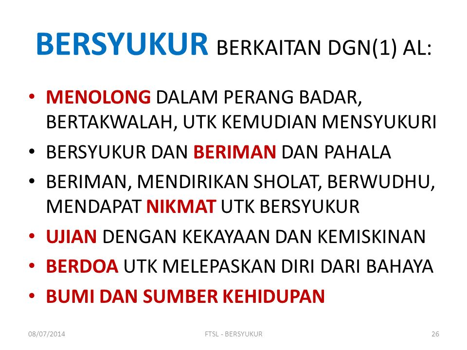 BERSYUKUR BERKAITAN DGN(1) AL: