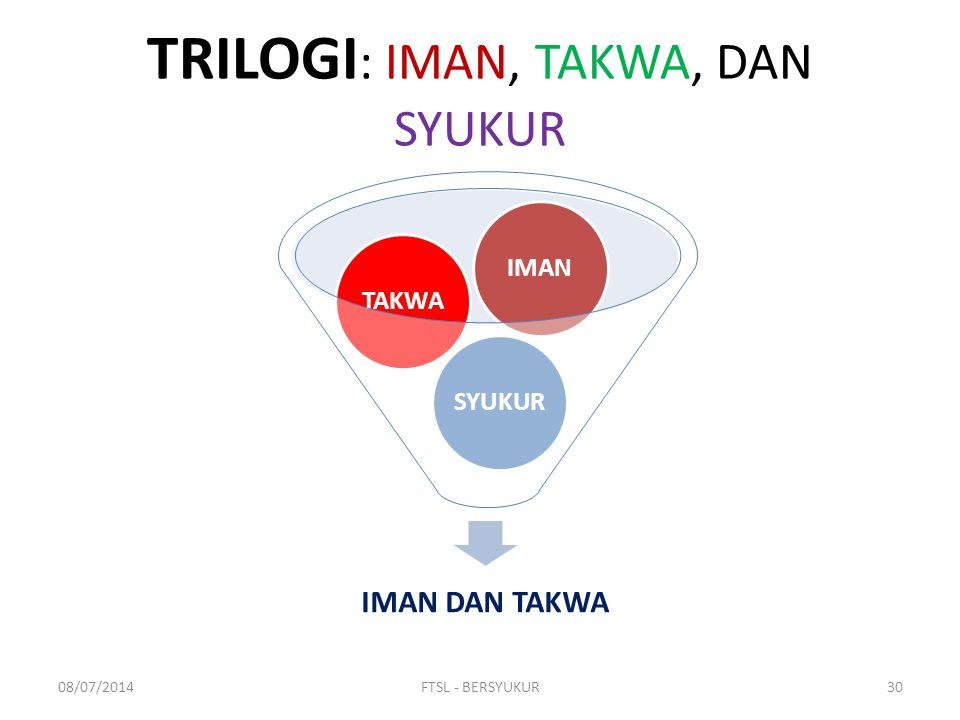 TRILOGI: IMAN, TAKWA, DAN SYUKUR