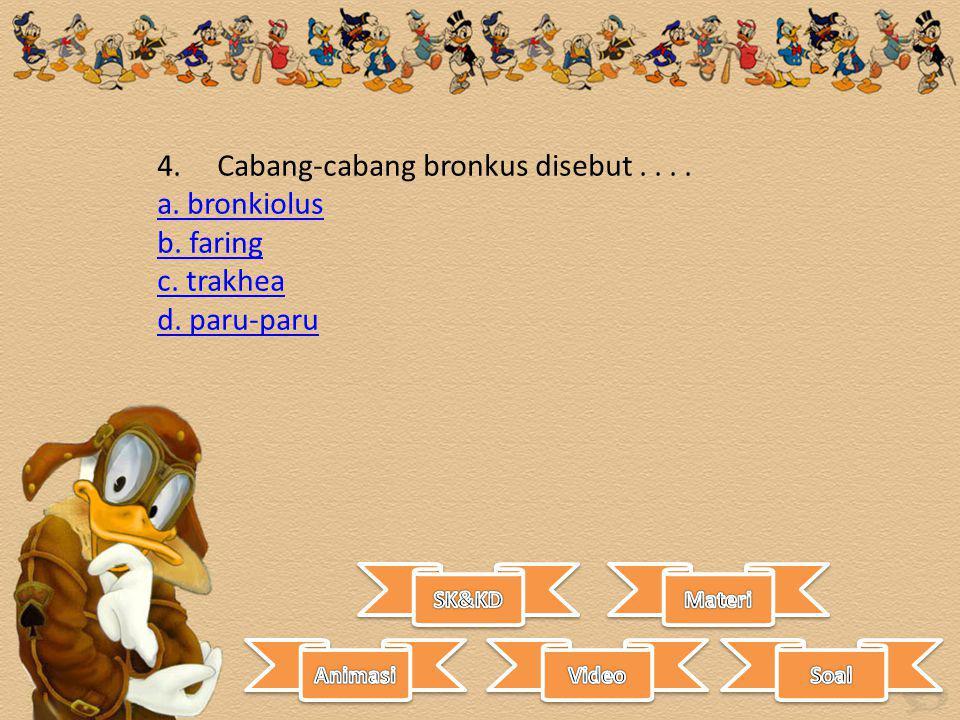 4. Cabang-cabang bronkus disebut . . . . a. bronkiolus