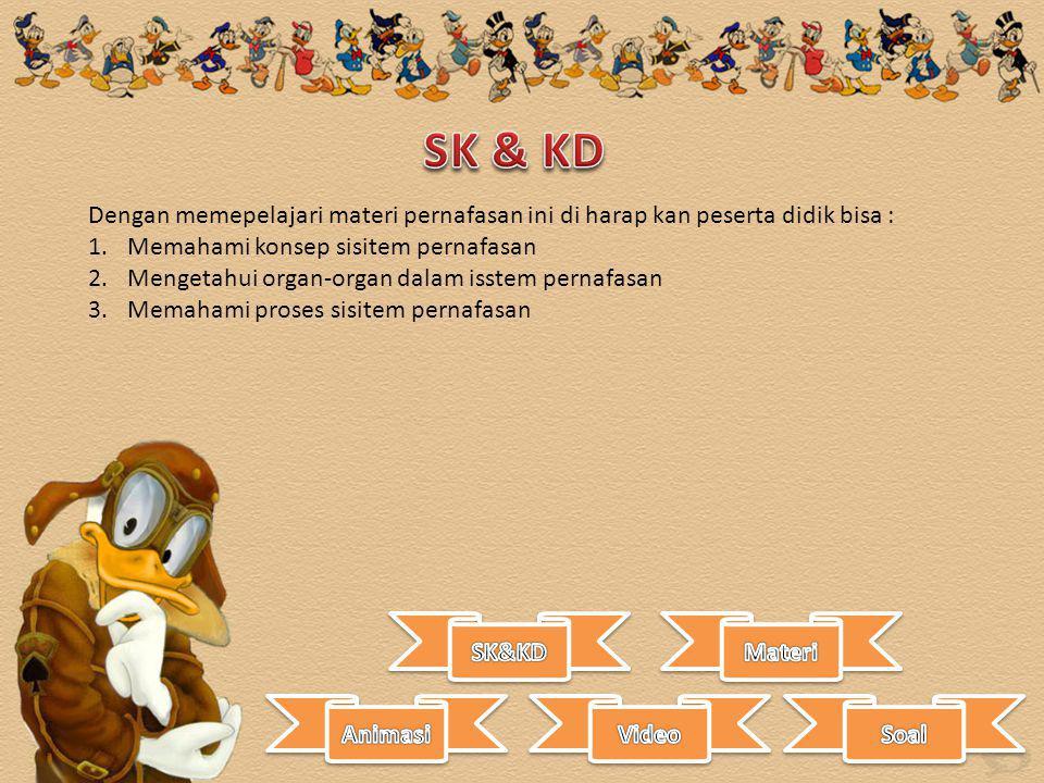 SK & KD Dengan memepelajari materi pernafasan ini di harap kan peserta didik bisa : Memahami konsep sisitem pernafasan.