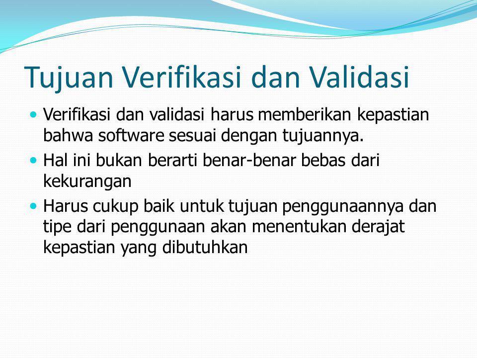 Tujuan Verifikasi dan Validasi