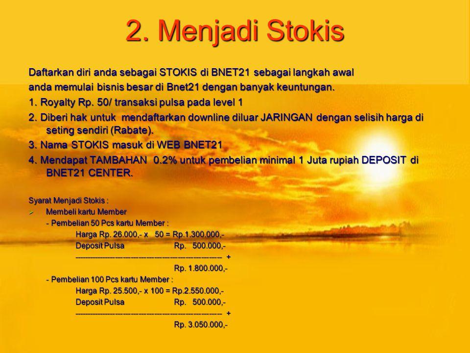 2. Menjadi Stokis Daftarkan diri anda sebagai STOKIS di BNET21 sebagai langkah awal. anda memulai bisnis besar di Bnet21 dengan banyak keuntungan.