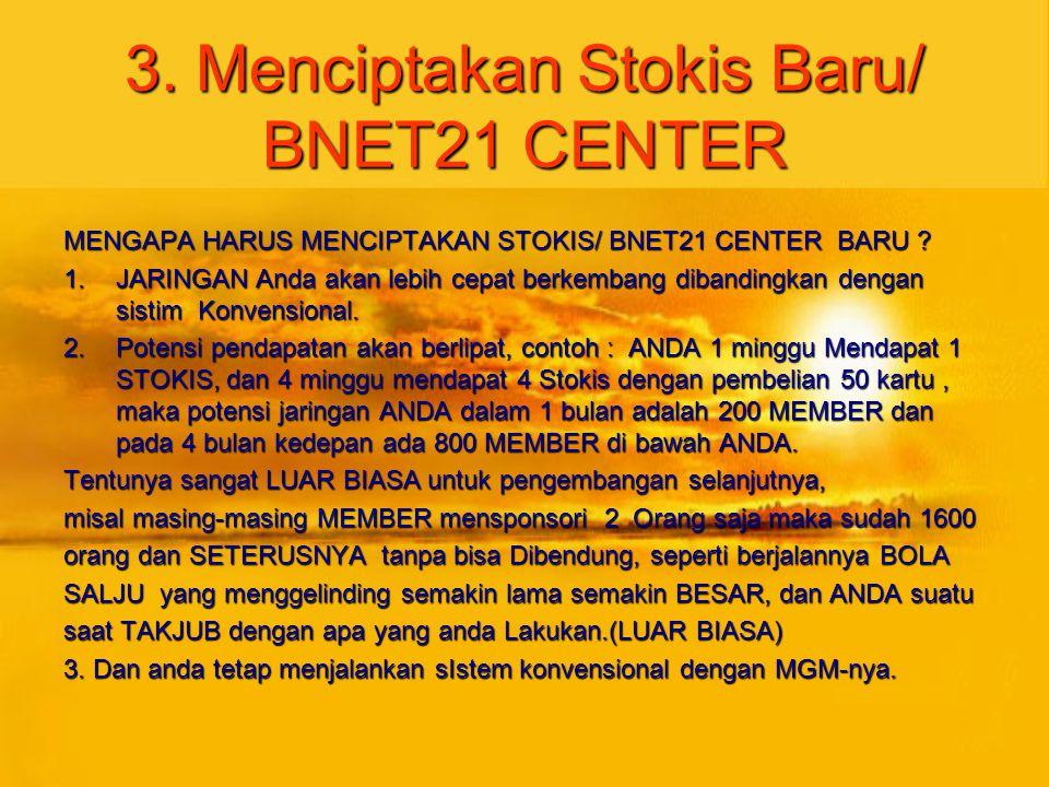 3. Menciptakan Stokis Baru/ BNET21 CENTER