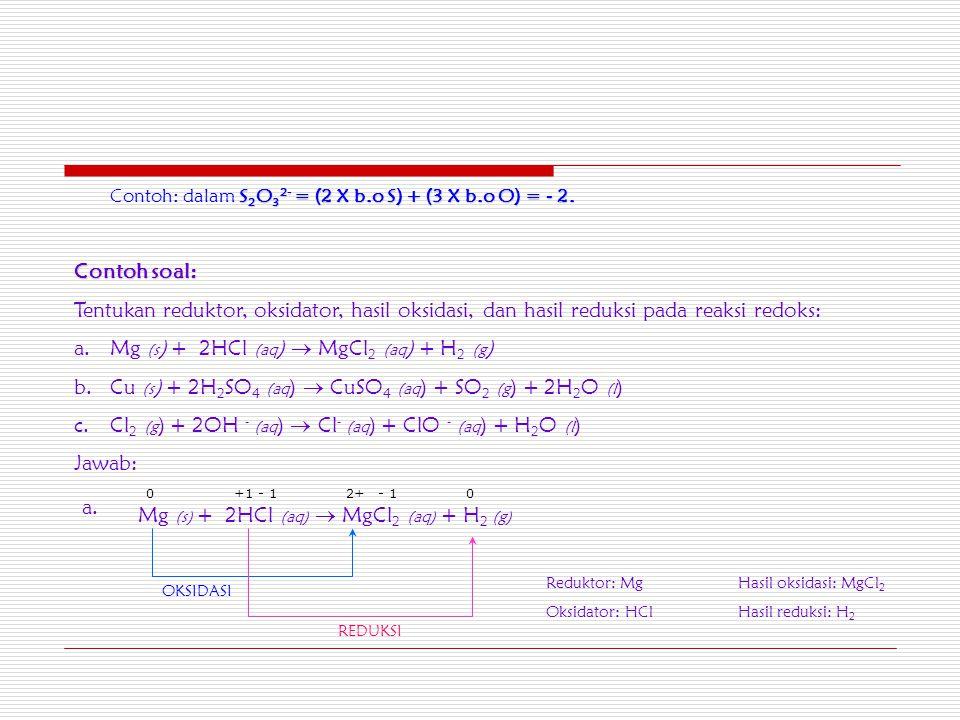 Contoh: dalam S2O32- = (2 X b.o S) + (3 X b.o O) = - 2.