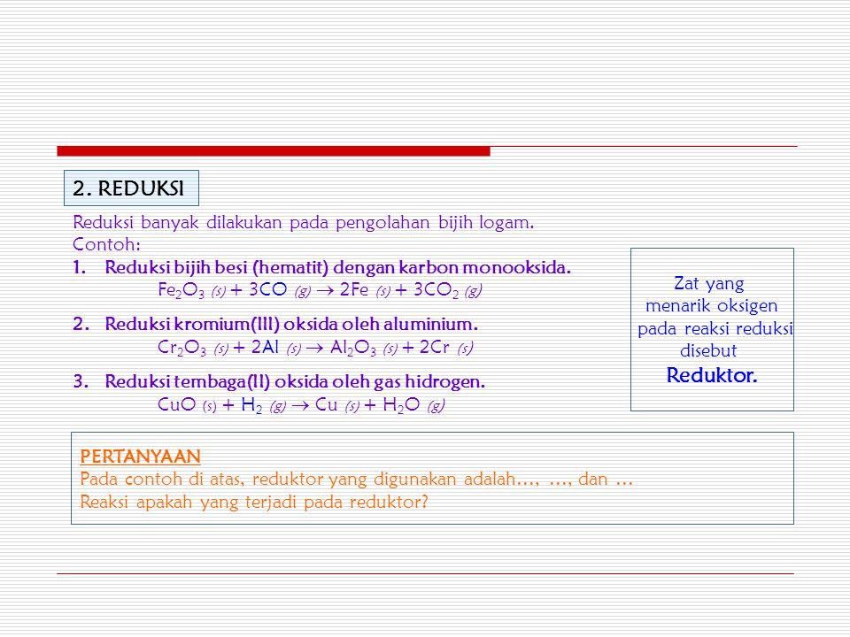 2. REDUKSI Reduksi banyak dilakukan pada pengolahan bijih logam. Contoh: Reduksi bijih besi (hematit) dengan karbon monooksida.
