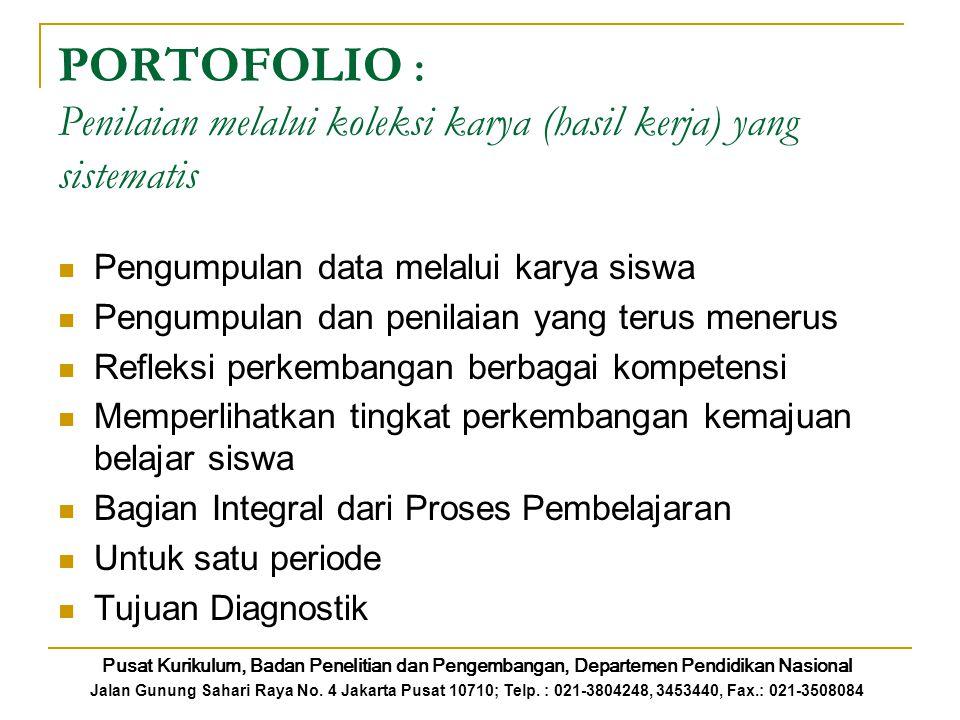 PORTOFOLIO : Penilaian melalui koleksi karya (hasil kerja) yang sistematis