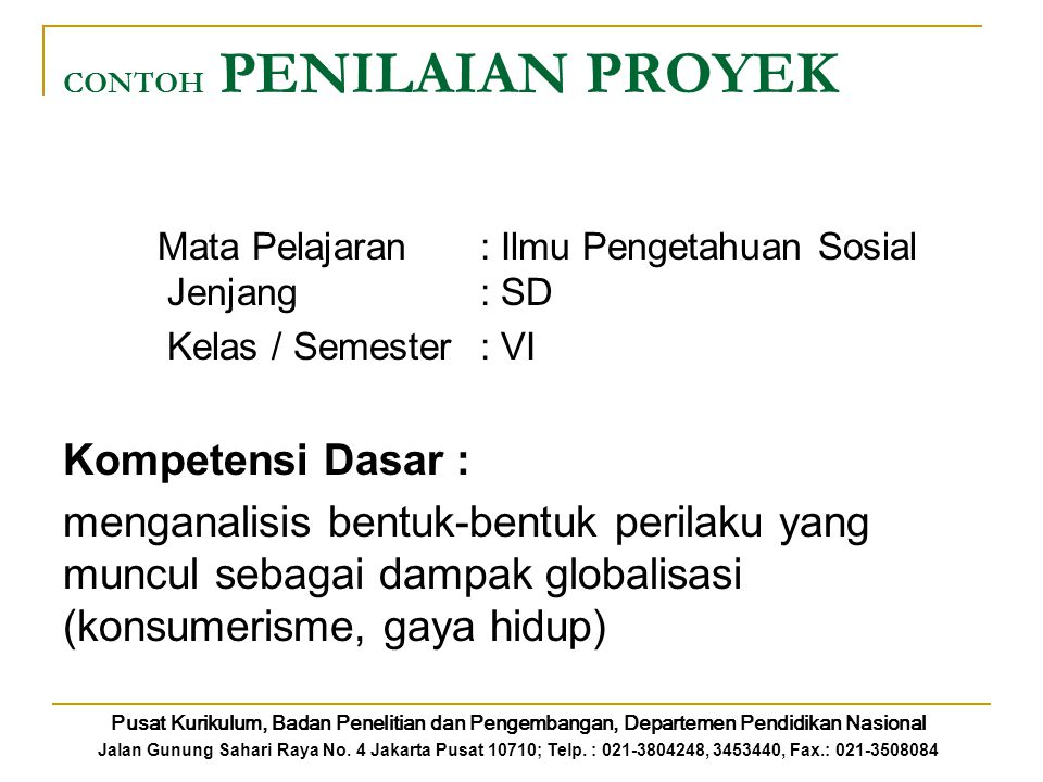 CONTOH PENILAIAN PROYEK