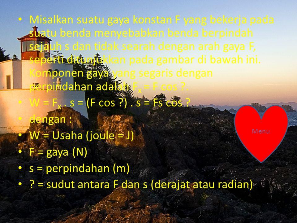 = sudut antara F dan s (derajat atau radian)