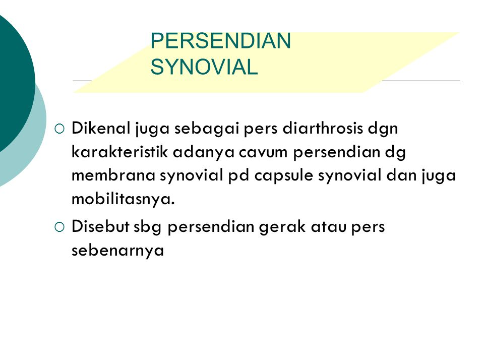 PERSENDIAN SYNOVIAL