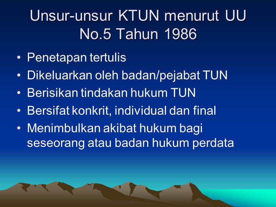 Unsur-unsur KTUN menurut UU No.5 Tahun 1986
