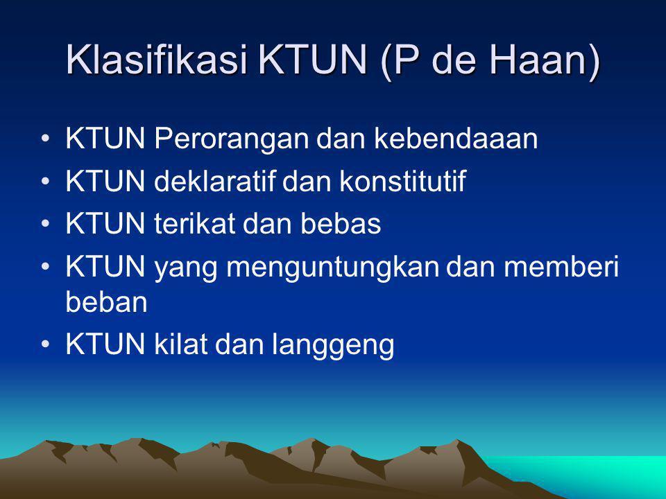 Klasifikasi KTUN (P de Haan)