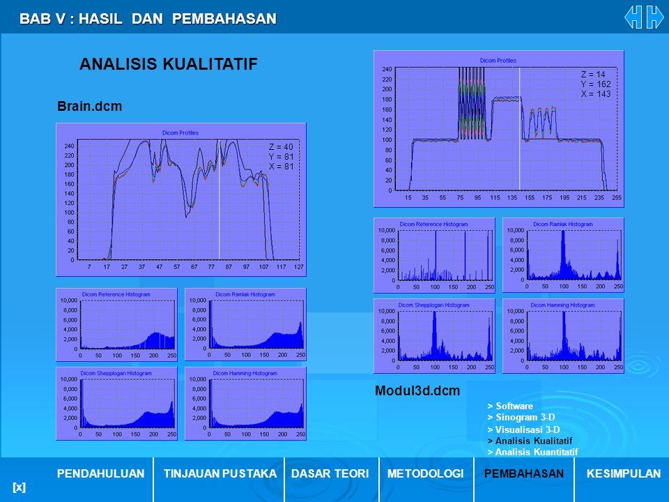 ANALISIS KUALITATIF BAB V : HASIL DAN PEMBAHASAN Brain.dcm Modul3d.dcm