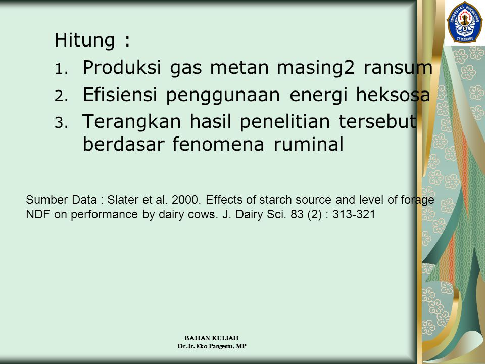 Produksi gas metan masing2 ransum Efisiensi penggunaan energi heksosa