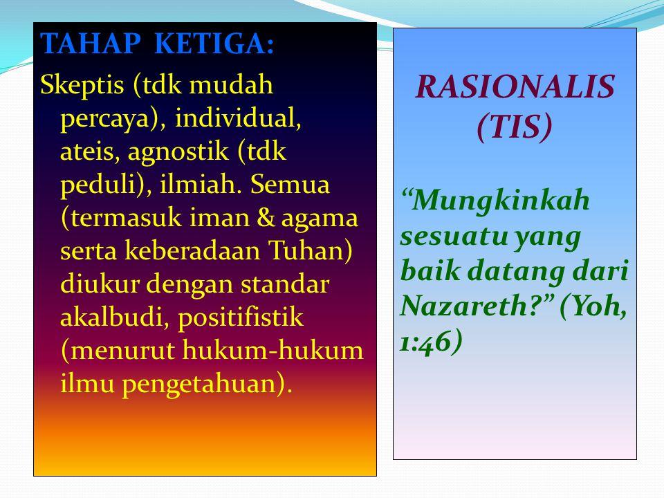 RASIONALIS (TIS) TAHAP KETIGA: