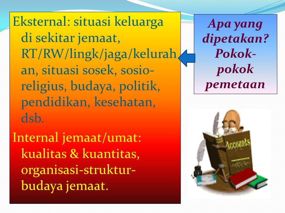 Eksternal: situasi keluarga di sekitar jemaat, RT/RW/lingk/jaga/kelurahan, situasi sosek, sosio-religius, budaya, politik, pendidikan, kesehatan, dsb. Internal jemaat/umat: kualitas & kuantitas, organisasi-struktur-budaya jemaat.