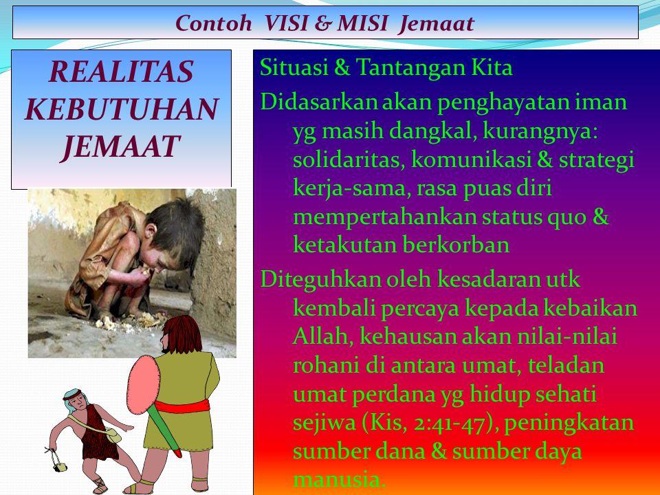 Contoh VISI & MISI Jemaat REALITAS KEBUTUHAN JEMAAT