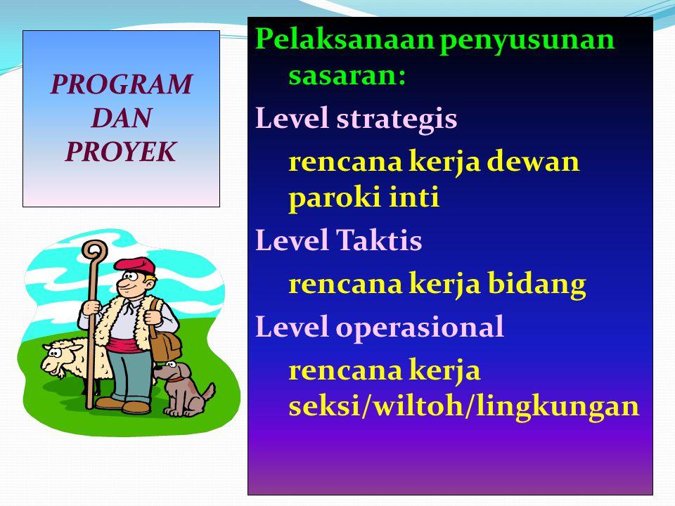 Pelaksanaan penyusunan sasaran: Level strategis rencana kerja dewan paroki inti Level Taktis rencana kerja bidang Level operasional rencana kerja seksi/wiltoh/lingkungan