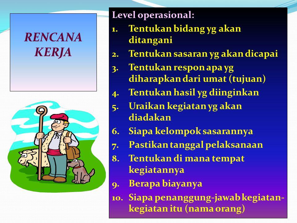 RENCANA KERJA Level operasional: Tentukan bidang yg akan ditangani