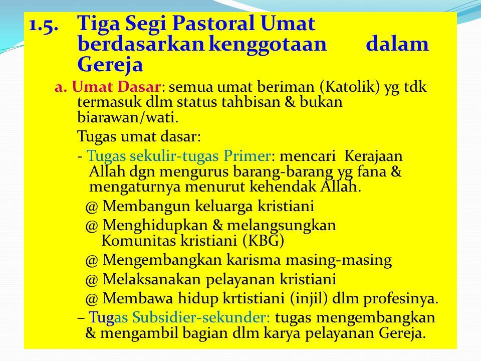 1.5. Tiga Segi Pastoral Umat berdasarkan kenggotaan dalam Gereja