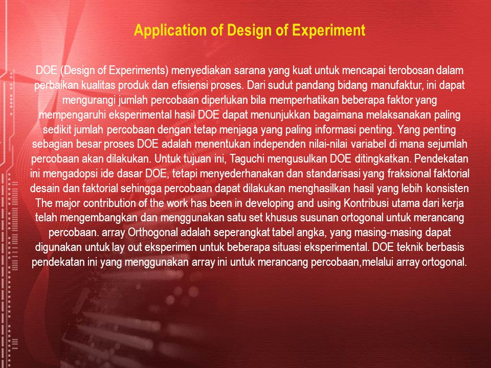 Application of Design of Experiment