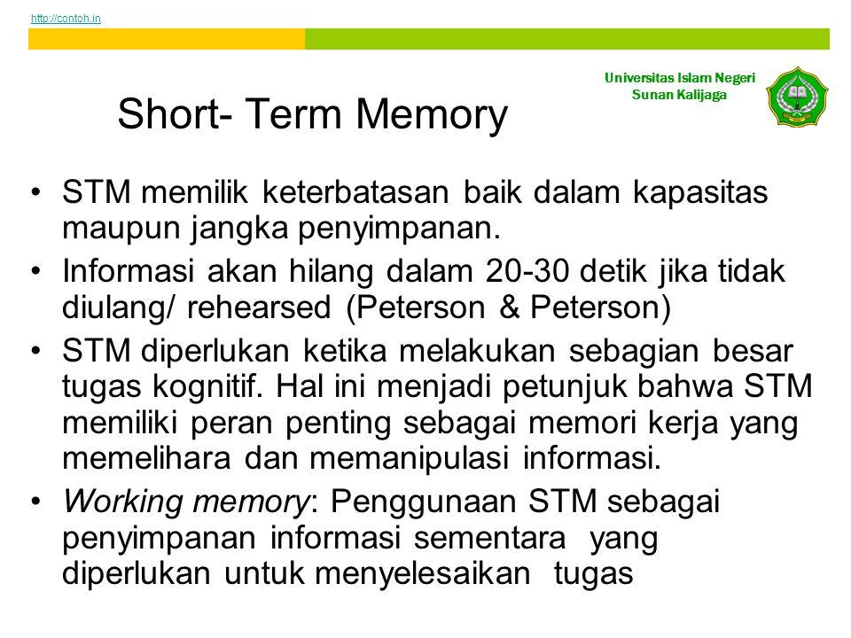 http://contoh.in Short- Term Memory. STM memilik keterbatasan baik dalam kapasitas maupun jangka penyimpanan.
