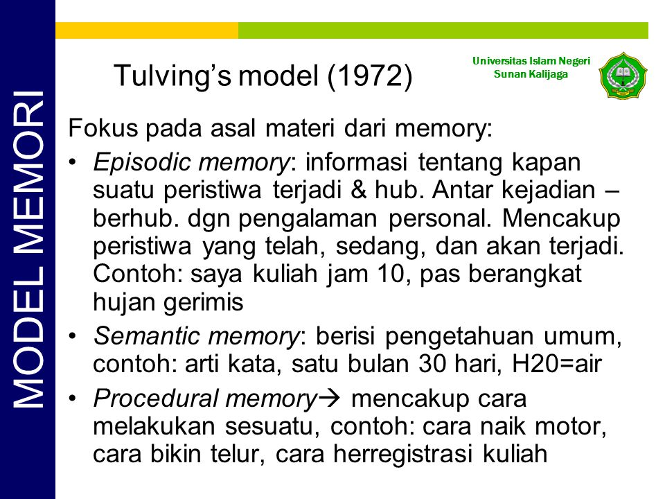 MODEL MEMORI Tulving's model (1972)