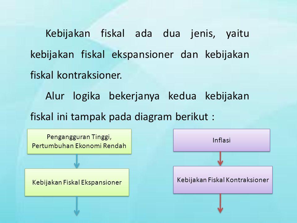 Kebijakan fiskal ada dua jenis, yaitu kebijakan fiskal ekspansioner dan kebijakan fiskal kontraksioner.
