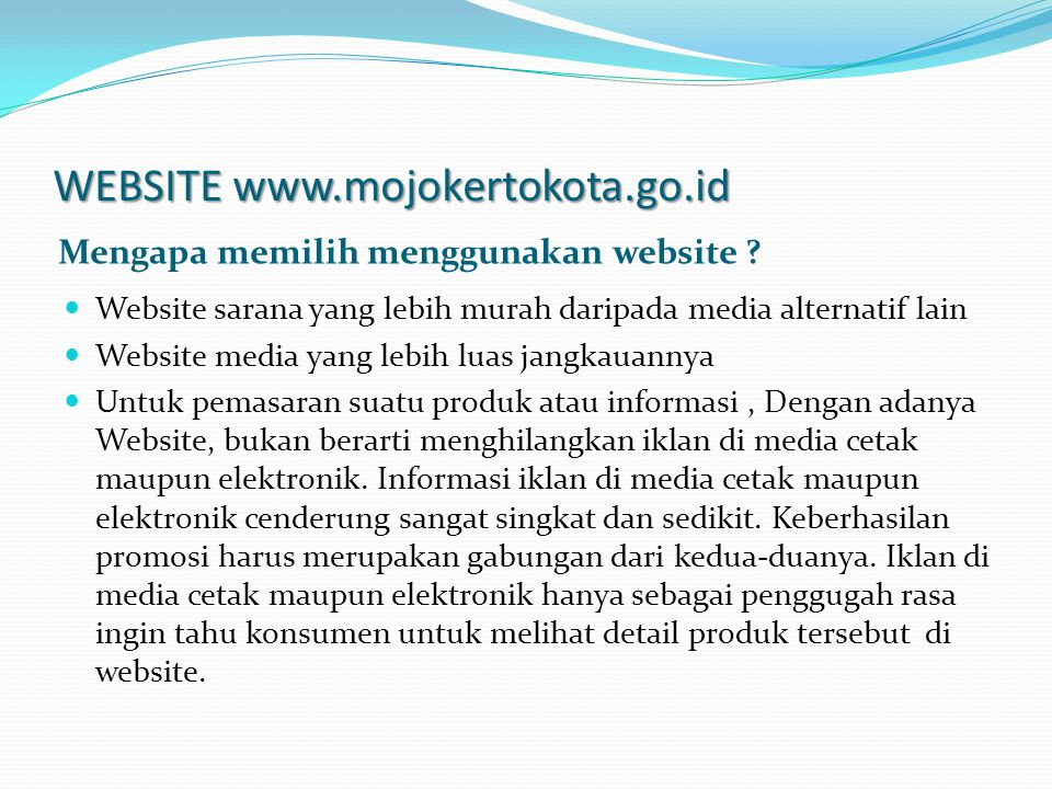 WEBSITE www.mojokertokota.go.id