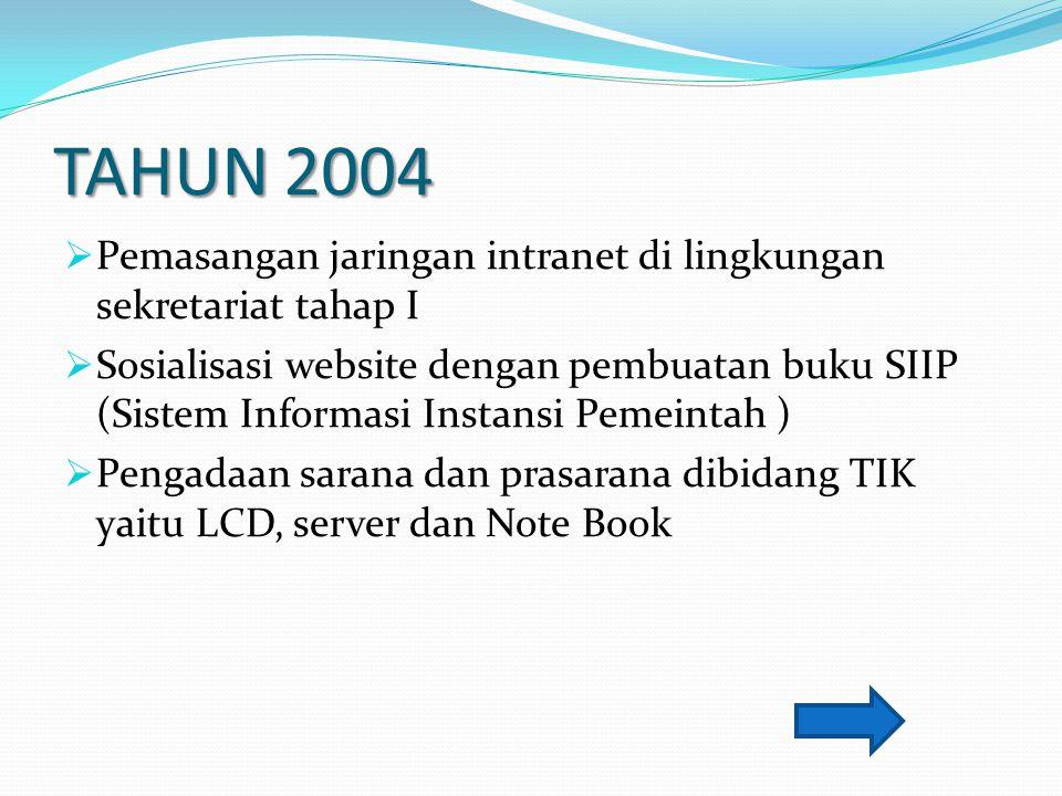 TAHUN 2004 Pemasangan jaringan intranet di lingkungan sekretariat tahap I.