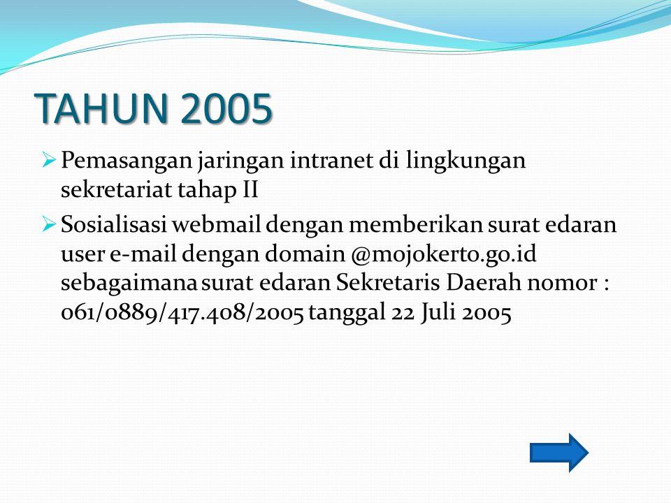 TAHUN 2005 Pemasangan jaringan intranet di lingkungan sekretariat tahap II.