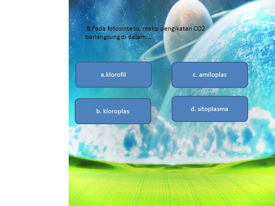 8.Pada fotosintesis, reaksi pengikatan CO2 berlangsung di dalam...