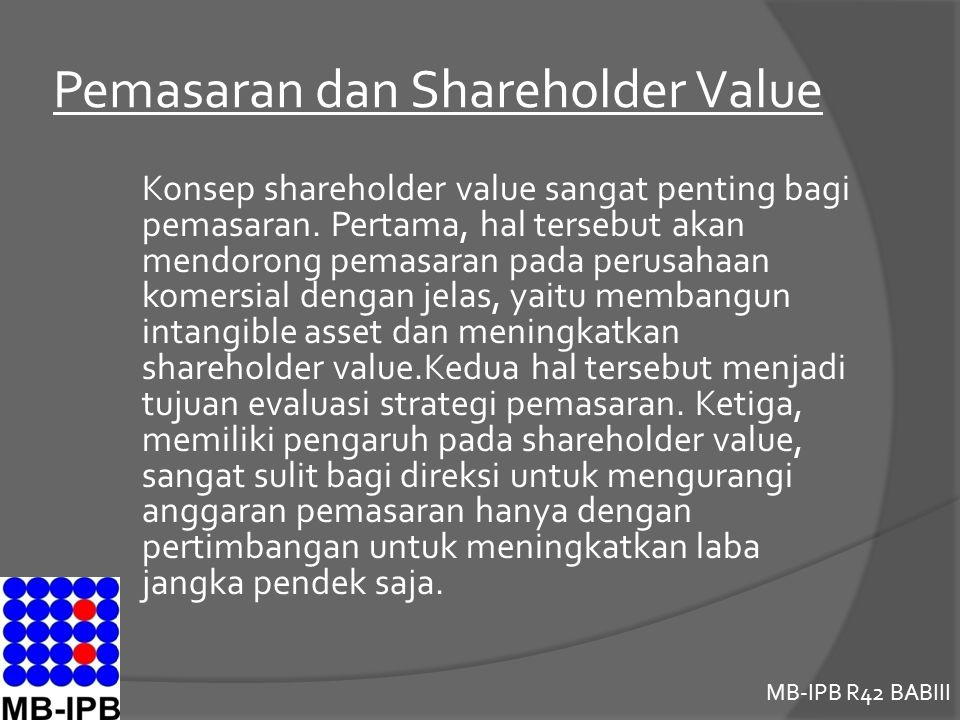 Pemasaran dan Shareholder Value