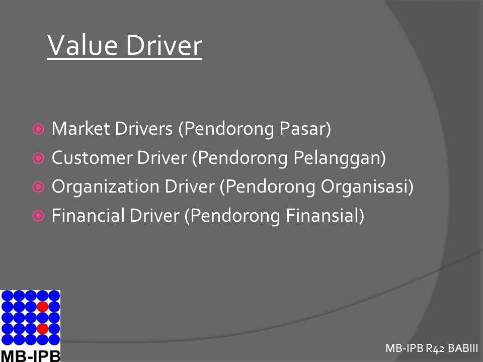 Value Driver Market Drivers (Pendorong Pasar)