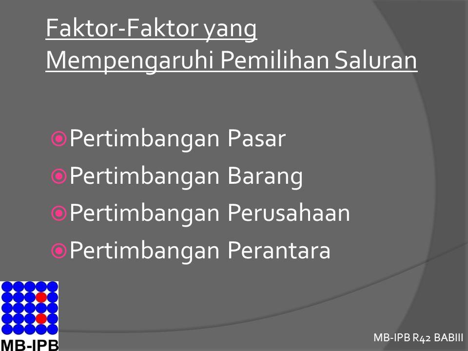 Faktor-Faktor yang Mempengaruhi Pemilihan Saluran