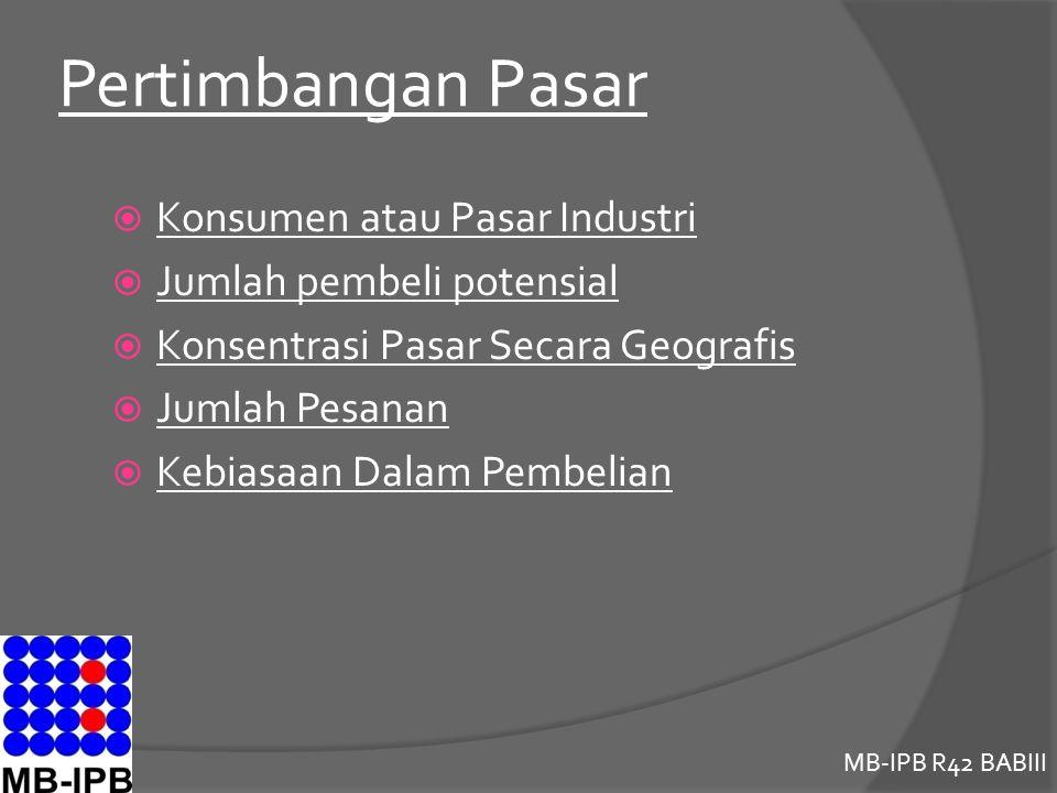 Pertimbangan Pasar Konsumen atau Pasar Industri