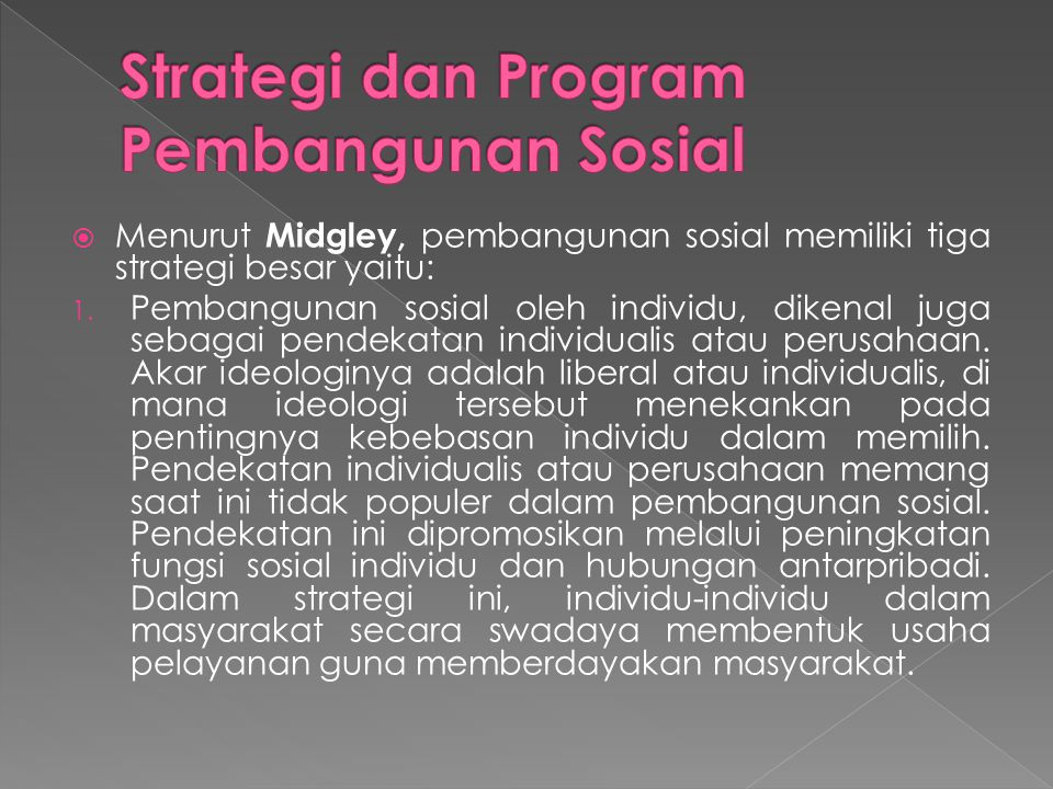 Strategi dan Program Pembangunan Sosial