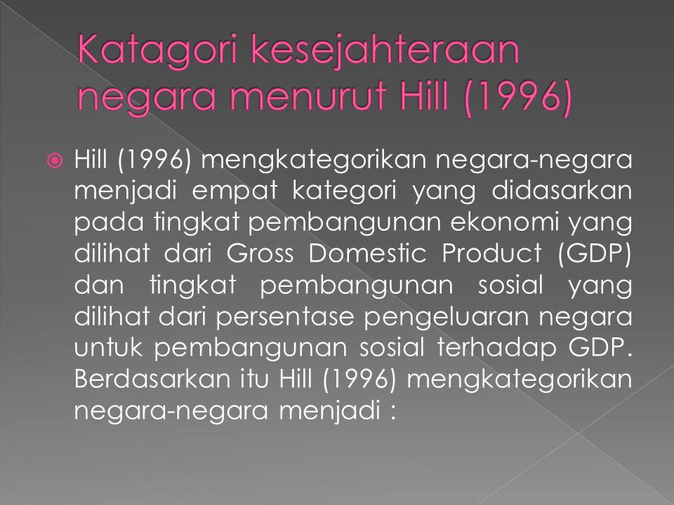 Katagori kesejahteraan negara menurut Hill (1996)